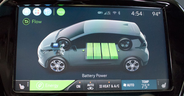 Chevy Bolt Energy (flow) display. Subsequent screens are used to set the charging time.