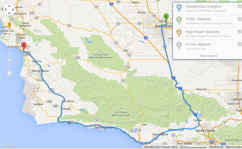 Route from Bakersfield to Grover Beach via Hwy 126 and the Santa Clara River Valley.