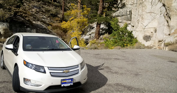 Our 2013 Chevy Volt on a test trip up to 10,000 feet in the Sierra Nevada.