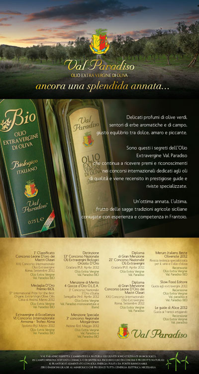 Val Paradiso olive oil advertisement, Italy.