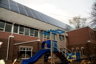 Neighborhood Unitarian Universalist church in Toronto, Ontario with  solar PV sytstem.